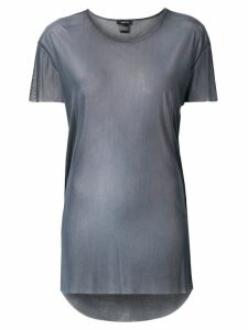 Avant Toi round-neck over tulle T-shirt - Grey