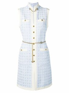 Gucci Short tweed dress with chain belt - Blue