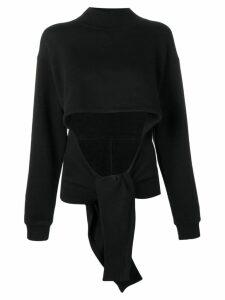 T By Alexander Wang neck wrap front sweatshirt - Black