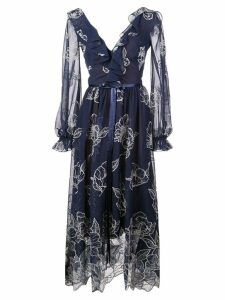 Marchesa Notte floral embroidered maxi dress - Blue