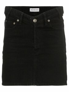 Balenciaga V-waist denim mini skirt - Black