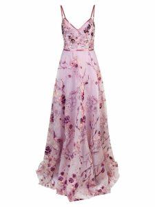 Marchesa Notte Floral organza gown - PURPLE