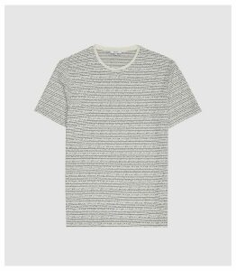 Reiss Islington - Jacquard Striped T-shirt in Ecru, Mens, Size XXL