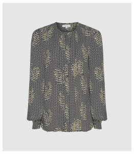 Reiss Celeste - Printed Blouse in Navy, Womens, Size 14