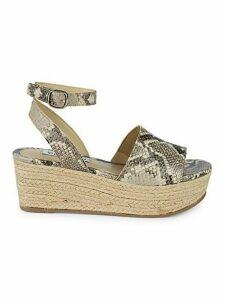 Snakeskin-Print Wedge Sandals