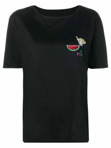 Fendi Pre-Owned 1980's floral embroidery T-shirt - Black