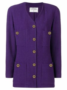 Chanel Pre-Owned 1990's collarless jacket - PURPLE