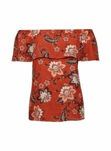 Womens Rust Print Tie Bardot Top- Ginger, Ginger