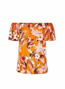 Womens Orange Tropical Print Tie Bardot Top, Orange