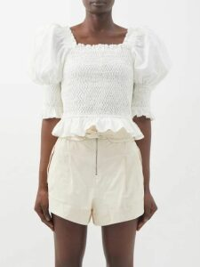Brock Collection - Orth Peplum Hammered-twill Jacket - Womens - Pink