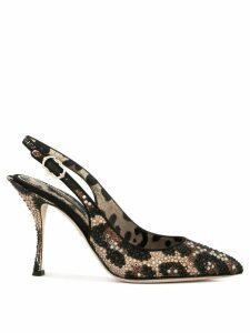 Dolce & Gabbana leopard print sling-back pumps - Black