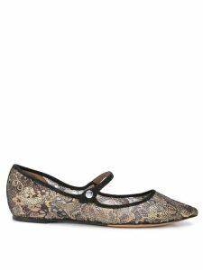 Tabitha Simmons Hermione gold lace ballerinas
