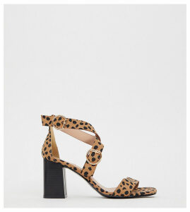 New Look wide fit multi strap heeled sandal in animal print-Brown