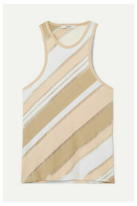 GANNI - Striped Stretch-jersey And Tulle Tank - Beige