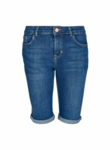 Womens Indigo Washed Knee Shorts - Blue, Blue