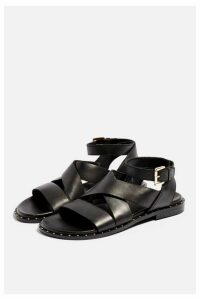 Womens **Wide Fit Hampton Footbed Sandals - Black, Black