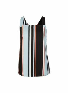 Womens Blue Stripe Printed Top, Blue