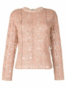 Chloé logo embroidered blouse - NEUTRALS
