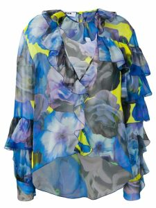 MSGM floral ruffled blouse - Blue