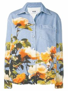 MSGM floral print denim shirt - Blue