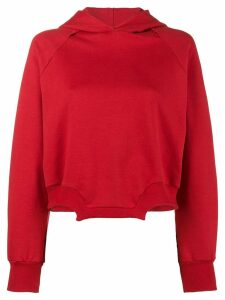 Esteban Cortazar Cropped Asymmetric Hoodie - Red