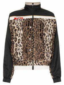 Martine Rose hybrid leopard print insert track jacket - Black