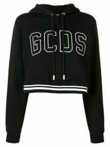Gcds cropped logo-embroidered hoodie - Black