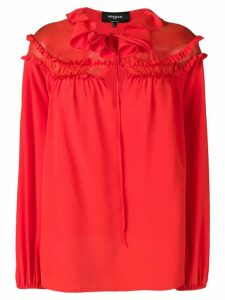 Rochas ruffled neck blouse - Red