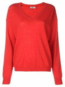 Closed red knit sweater