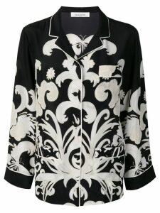 Valentino Phoenix Crepe de Chine pajama shirt - Black