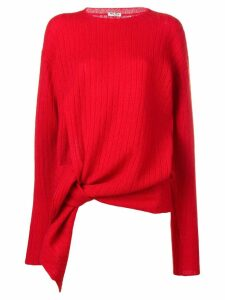 Miu Miu ribbed long asymmetric sweater - Red
