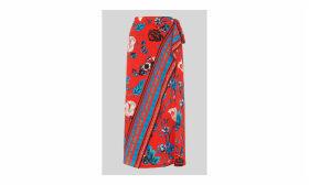 Scarf Print Border Wrap Skirt