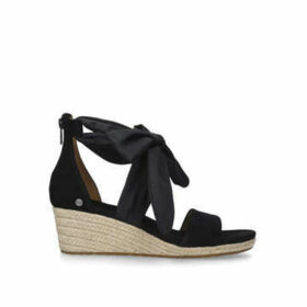Ugg Trina - Black Suede Wedge Heel Sandals
