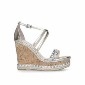 Carvela Grab - Gold Embellished High Heel Wedge Sandals