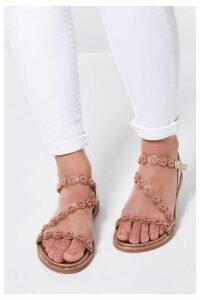 Quiz Rose Gold Floral Asymmetrical Flat Sandals