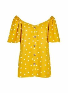 Womens Yellow Spot Print Button Blouse- Orange, Orange