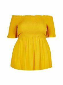 Womens **Dp Curve Yellow Shirred Bardot Top - Orange, Orange