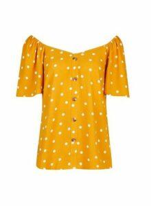 Womens **Tall Yellow Spot Print Top- Orange, Orange
