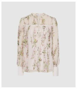 Reiss Marino Print - Floral Smock Blouse in Floral White, Womens, Size 14