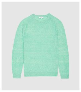 Reiss Carsen - Wool Linen Blend Crew Neck Jumper in Green, Mens, Size XXL