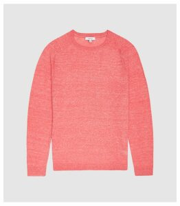 Reiss Carsen - Wool Linen Blended Crew Neck Jumper in Pink, Mens, Size XXL