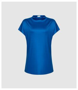 Reiss Pax - High Neck Top in Cobalt, Womens, Size XL