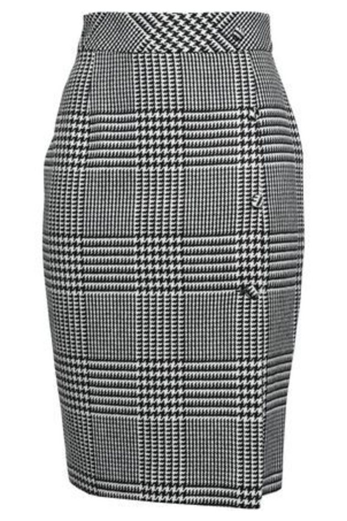 Each X Other Woman Button-detailed Prince Of Wales Checked Jacquard Pencil Skirt Gray Size S
