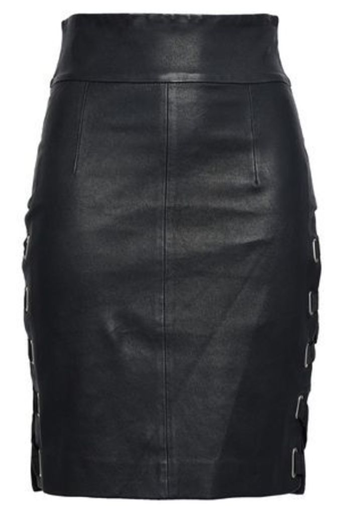 Each X Other Woman Lace-up Leather Mini Skirt Black Size XS