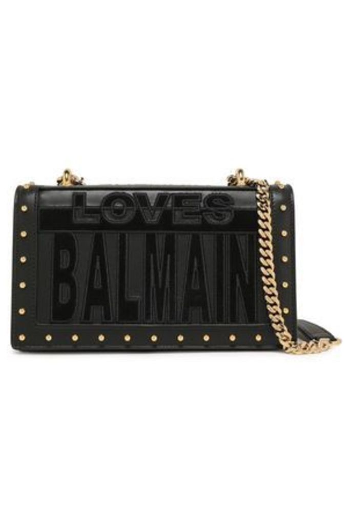 Balmain Woman Suede-appliquéd Studded Leather Shoulder Bag Black Size -
