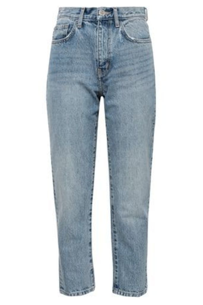Current/elliott Woman Printed High-rise Slim-leg Jeans Light Denim Size 32