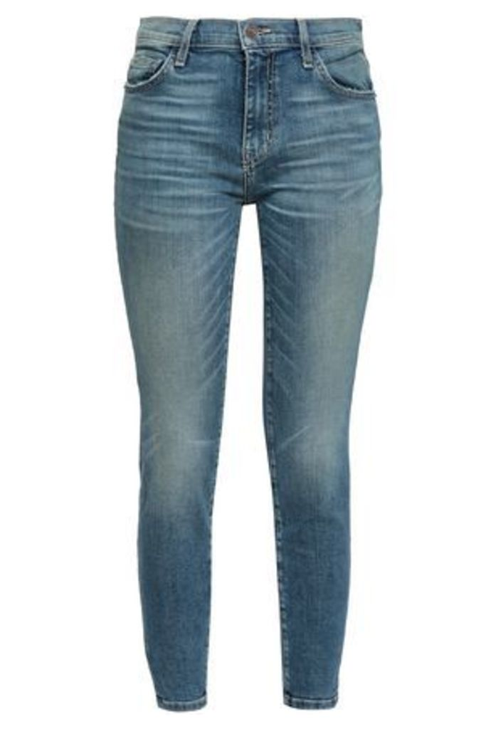 Current/elliott Woman Cropped Faded Mid-rise Skinny Jeans Mid Denim Size 28