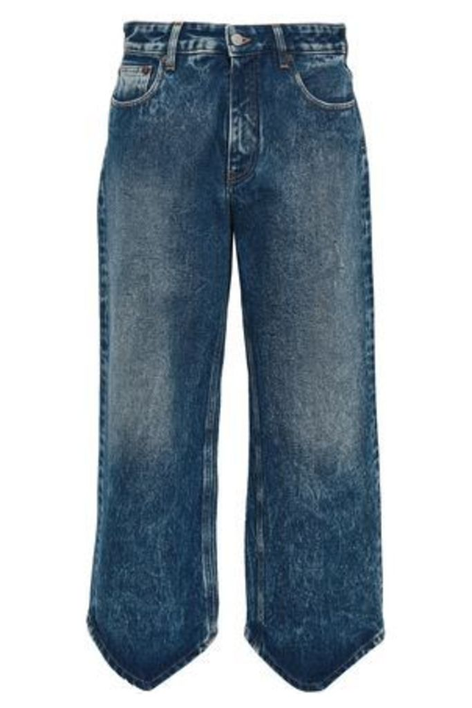 Mm6 Maison Margiela Woman Cropped Bleached High-rise Wide-leg Jeans Dark Denim Size 44