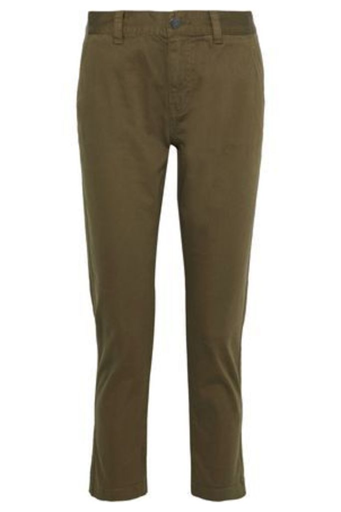 Current/elliott Woman The Confidant Cropped Stretch-cotton Straight-leg Pants Army Green Size 31