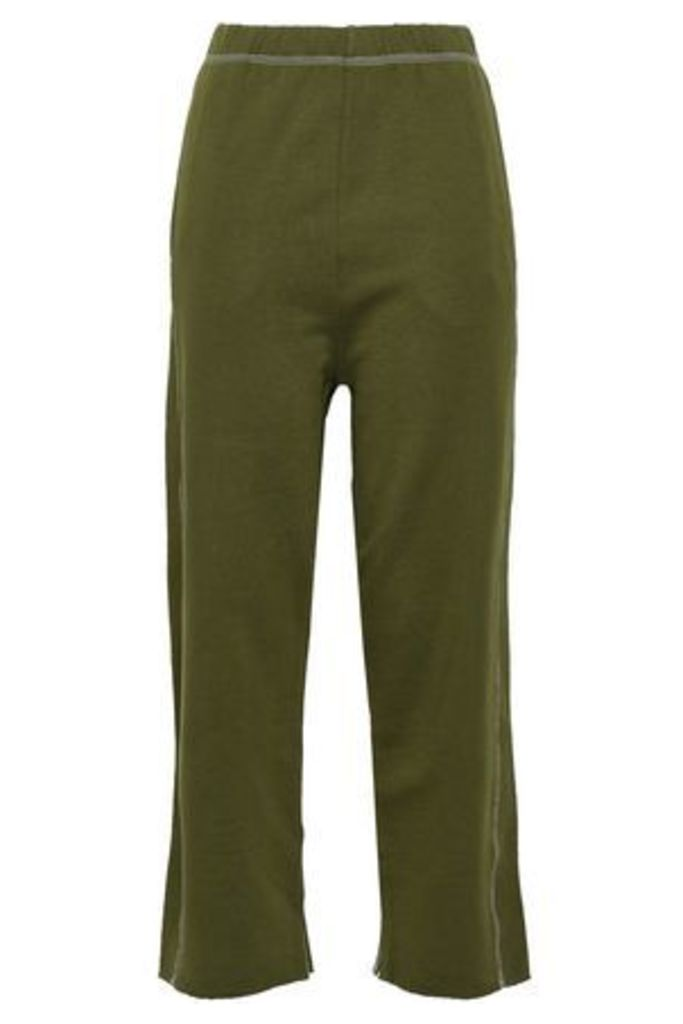 Mm6 Maison Margiela Woman French Cotton-terry Track Pants Army Green Size S